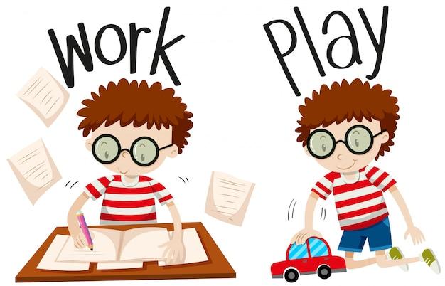 Tegenover bijvoeglijke naamwoorden werken en spelen Gratis Vector