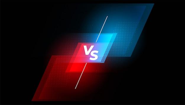 Tegenover het gevechtsscherm rode en blauwe achtergrond Gratis Vector