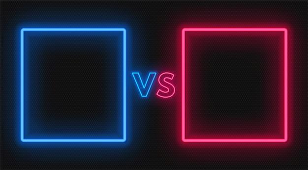 Tegenover het scherm met neonframes en vs-bord. confrontatie ontwerp. Premium Vector