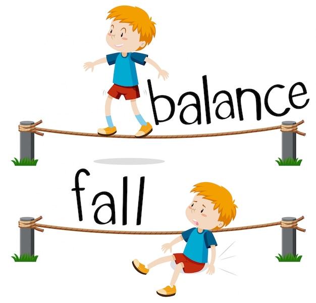 Tegenover woorden voor balans en vallen Gratis Vector