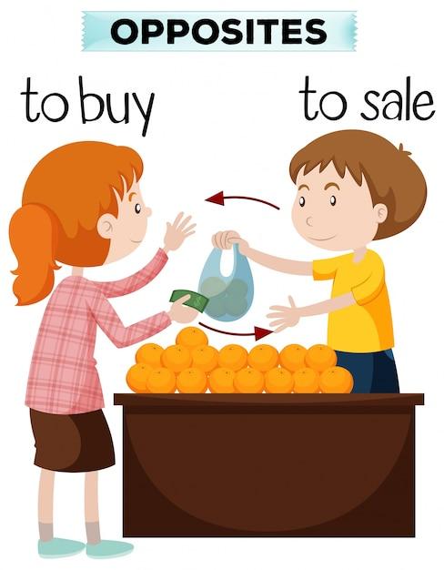 Tegenovergestelde woorden voor koop en verkoop Gratis Vector