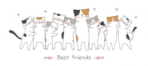 Teken banner katten knuffel met liefde en word beste vrienden Premium Vector