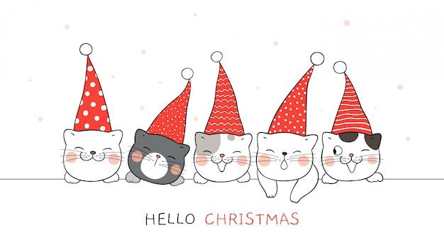 Teken banner van schattige kat met elf hoed voor kerstmis. Premium Vector