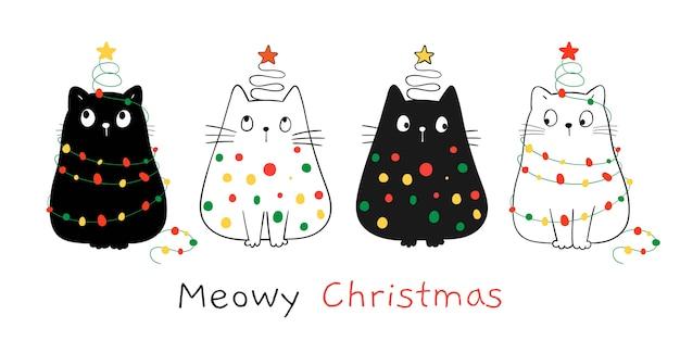 Teken blije katten met kerstlicht. voor winter en nieuwjaar. Premium Vector