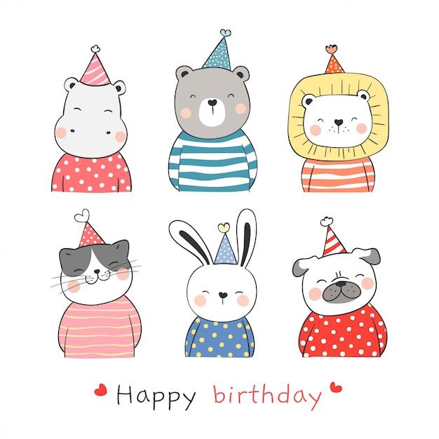 Teken collectie schattig dier met feestmuts voor verjaardag. Premium Vector