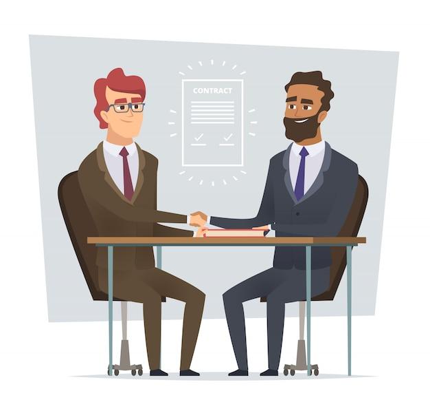 Teken contract. zakelijke bijeenkomst verkopende deal handelaren dialoog partnerschap stripfiguren geïsoleerd Premium Vector