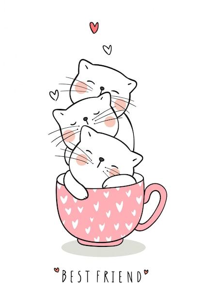 Teken een schattige kattenslaap in een kopje thee met roze pastel Premium Vector