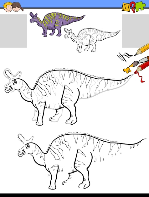 Teken- en kleuropdracht met lambeosaurus-dinosaurus Premium Vector