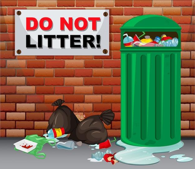 Teken geen rommel met veel vuilnis eronder Gratis Vector