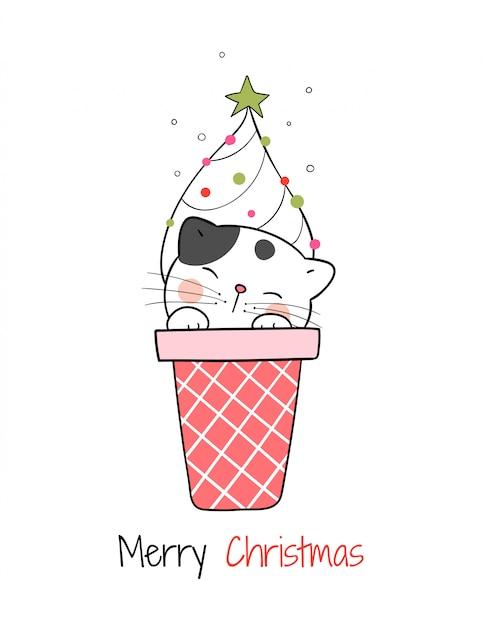 Teken kat in ijshoorntje voor eerste kerstdag en nieuwjaar. Premium Vector