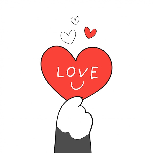 Teken kattenpoot met rood hart en schrijf woordliefde voor valentijn. Premium Vector