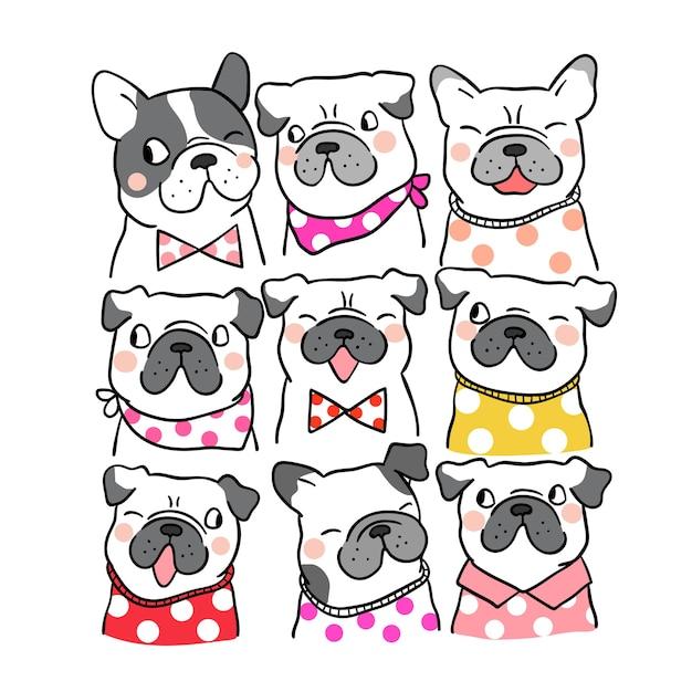 Teken portret schattige pug en franse bulldog doodle stijl Premium Vector
