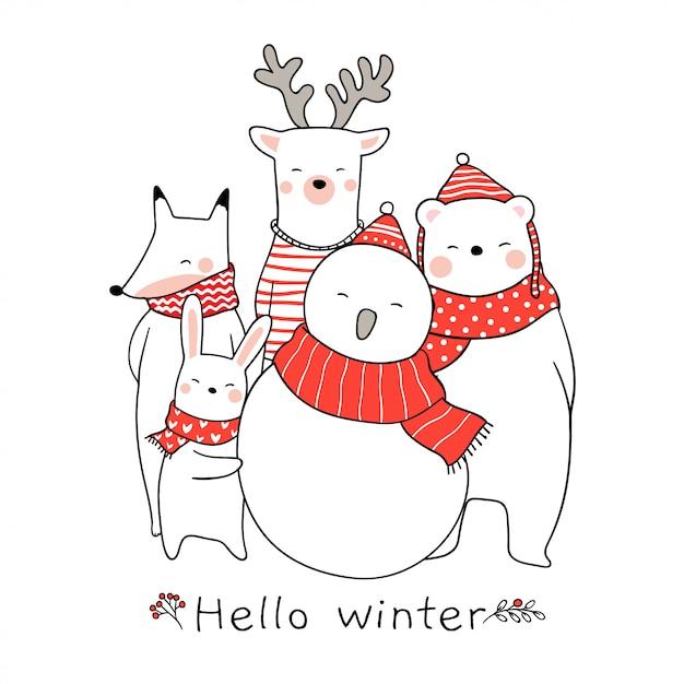 Teken schattige dieren konijn beer herten vos voor kerstmis Premium Vector