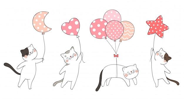 Teken set schattige kat met ballon zoete kleur. Premium Vector