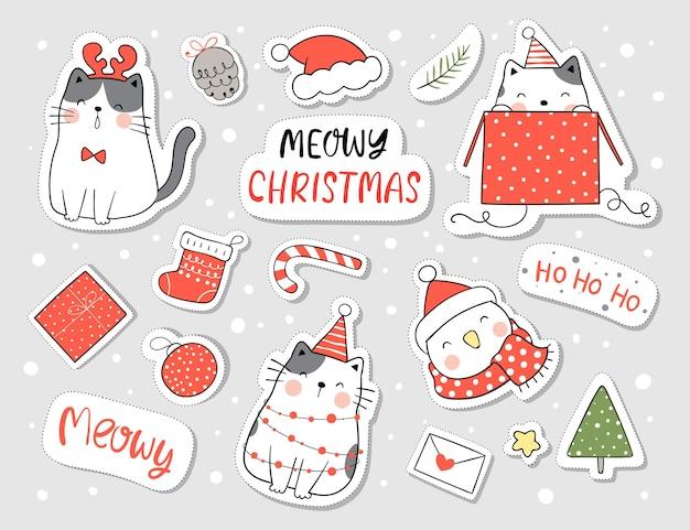 Teken stickers gelukkige kat en element voor kerstmis en nieuwjaar Premium Vector