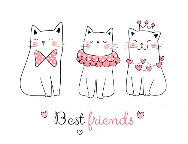 Teken verzameling van zoete kat met woord beste vriend. Premium Vector