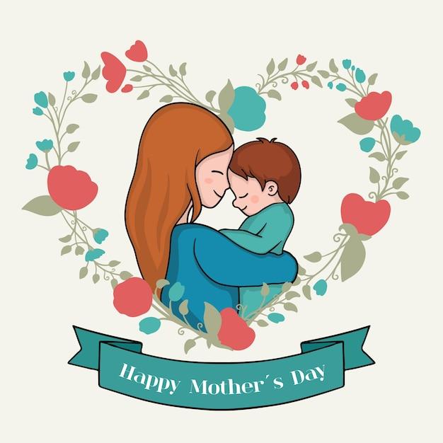 Tekenen met moederdag thema Gratis Vector