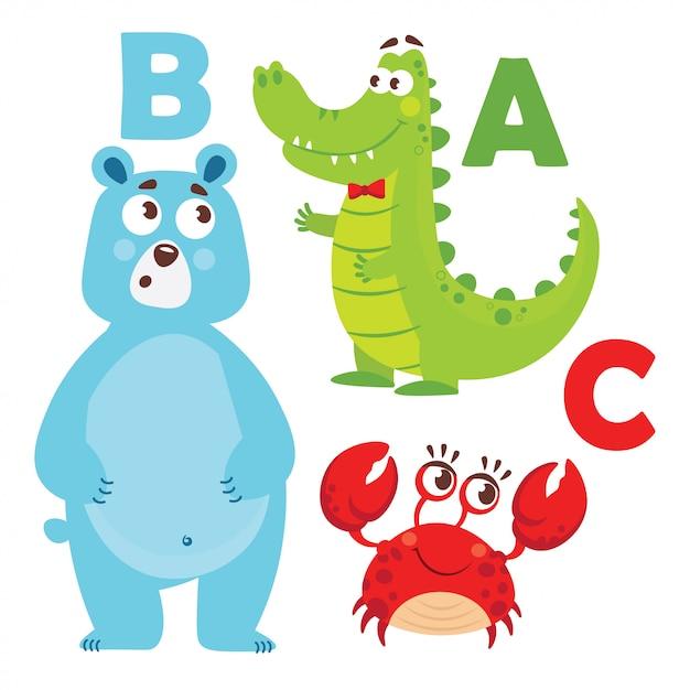 Tekenfilm dieren alfabet Premium Vector