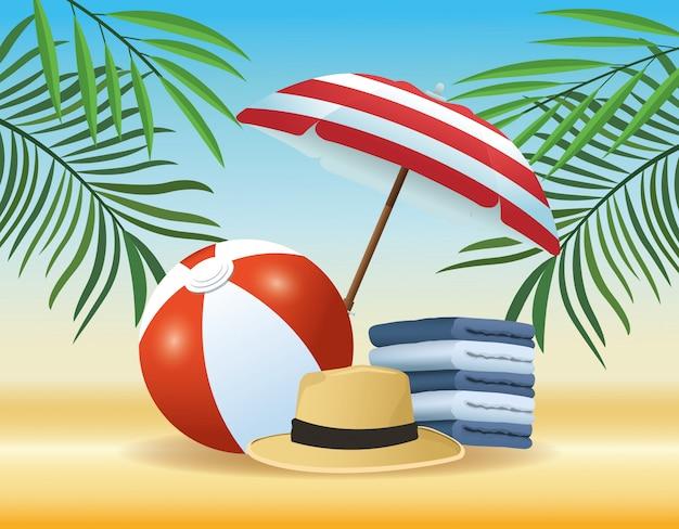 Tekenfilms voor de zomer en het strand Gratis Vector