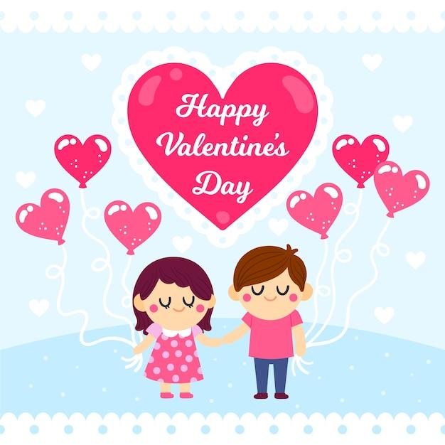 Tekening met valentijnsdagthema Gratis Vector