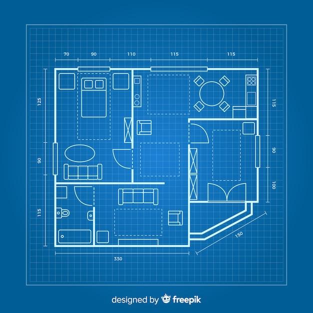 Tekening van een huis op blauwdruk Gratis Vector