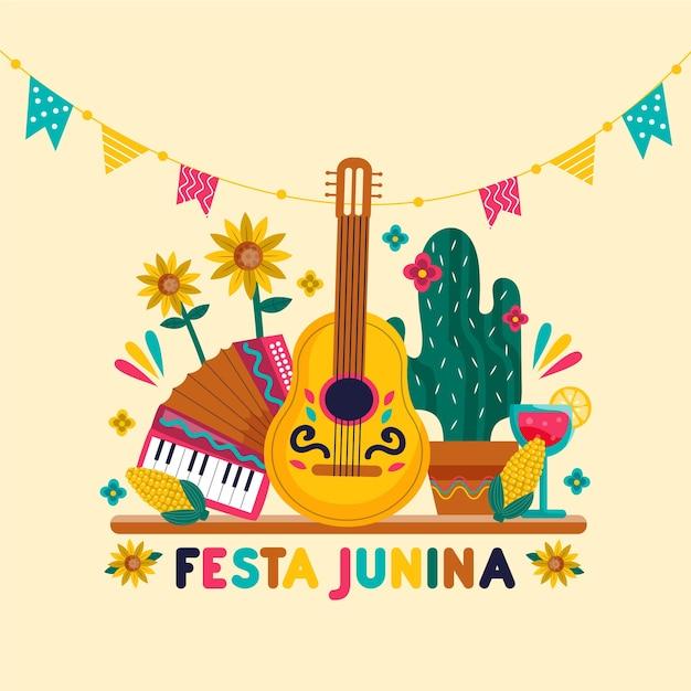 Tekening van festa junina-concept Gratis Vector