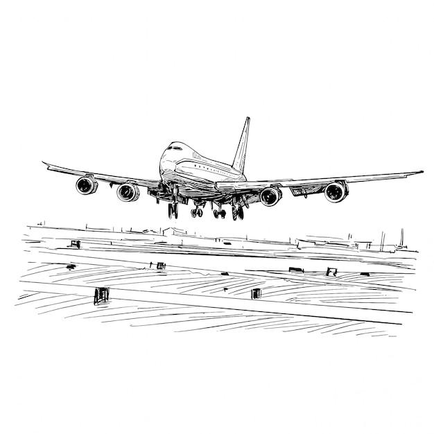Tekening van het vliegtuig dat in vietnam landt Premium Vector