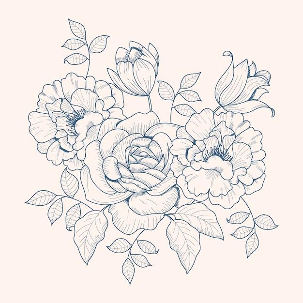 Tekening van vintage bloemenboeket Gratis Vector