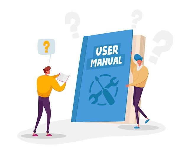 Tekens die gebruikershandleiding, gids of technisch instructieconcept lezen. kleine karakters lezen enorm handboek met begeleiding en zelfstudie voor gebruikers Premium Vector