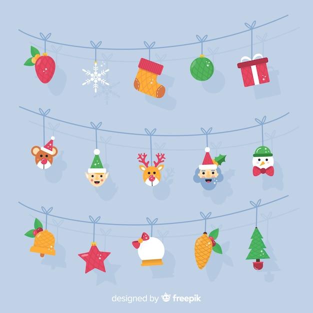 Tekens garland kerstmis achtergrond Gratis Vector