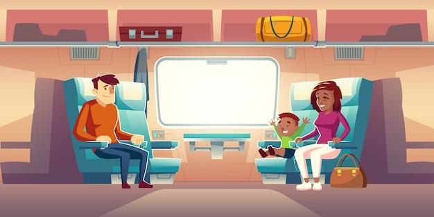 Tekens passagiers reizen door treinwagon illustratie Gratis Vector