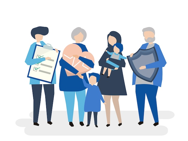 Tekens van een uitgebreid gezin met gezondheidszorg Gratis Vector