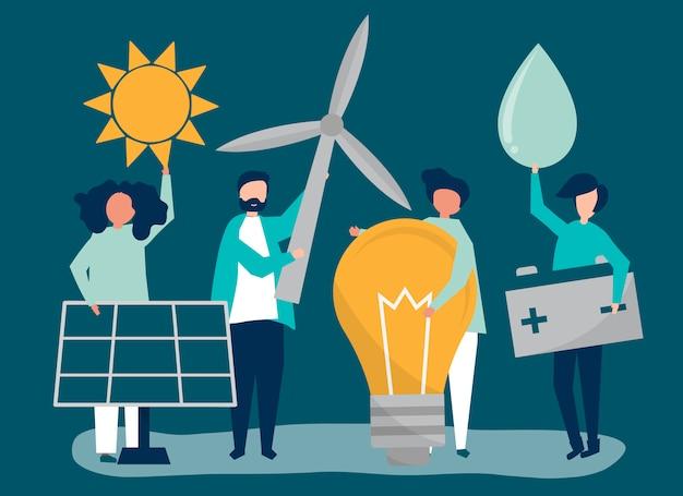 Tekens van mensen die groene energiepictogrammen houden Gratis Vector