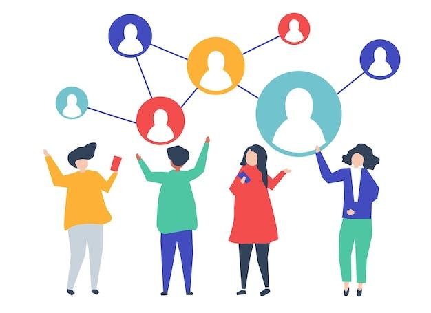 Tekens van mensen en hun sociale netwerkillustratie Gratis Vector