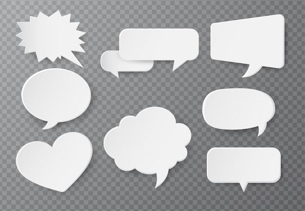Tekstballon van papier voor tekstinvoer Premium Vector