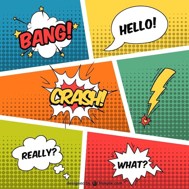 Tekstballonnen in komische stijl Gratis Vector