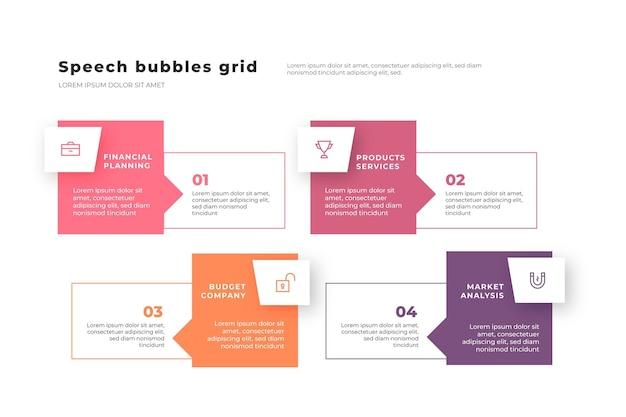 Tekstballonnen infographics in plat ontwerp Gratis Vector