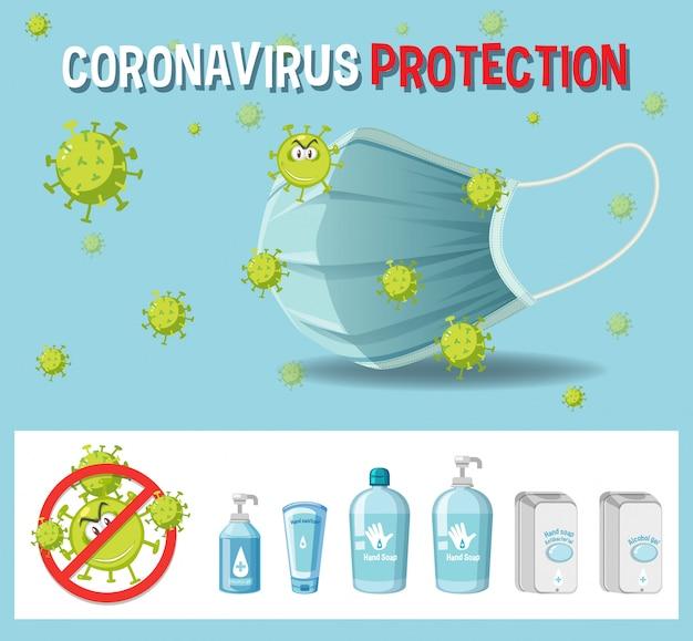 Tekstbord met coronavirusbescherming met coronavirus-thema en ontsmettingsproducten Premium Vector