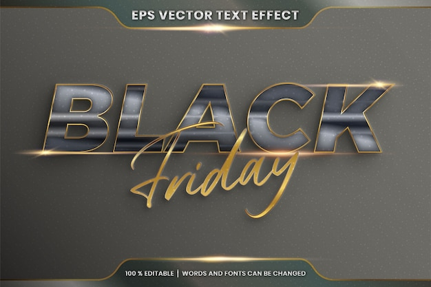 Teksteffect in 3d black friday-woorden, lettertype-stijlthema bewerkbaar realistisch metaalglas en gouden kleurencombinatie met flare light-concept Premium Vector