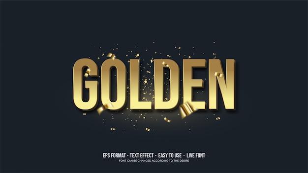 Teksteffect met gouden illustraties. Premium Vector
