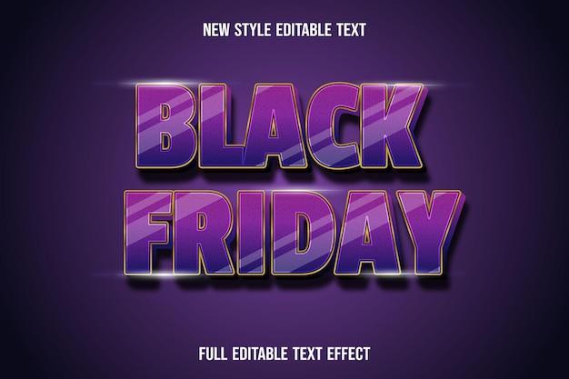 Teksteffect zwarte vrijdag kleur paars en goud Premium Vector