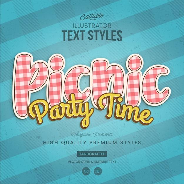 Tekststijl in picnic-stof Premium Vector