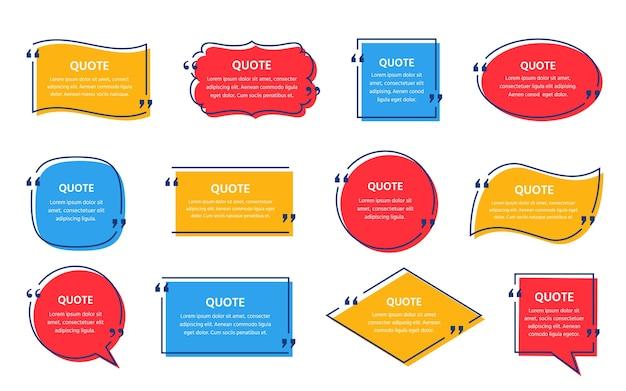 Tekstvak citeren. . citaten frame. set info-opmerkingen en berichten in tekstvakken. tekstballonnen op kleur achtergrond. kleurrijke illustratie. eenvoudige minimalistische stijl. geel, rood, blauw ontwerp Premium Vector