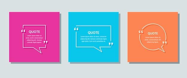 Tekstvak citeren. tekstballonnen op kleur achtergrond. citaten van sjabloonkaders. . set info-opmerkingen en berichten in tekstvakken. kleurrijke retro illustratie in lijnstijl. Premium Vector