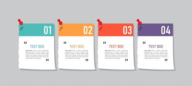 Tekstvakontwerp met notitieblaadjes. Premium Vector