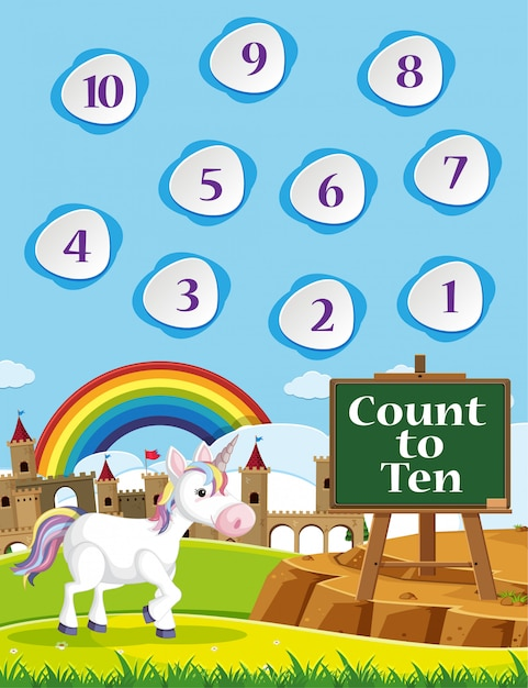 Tel tot tien voor de kleuterschool op de thema-achtergrond van de regenboog en eenhoorn Premium Vector