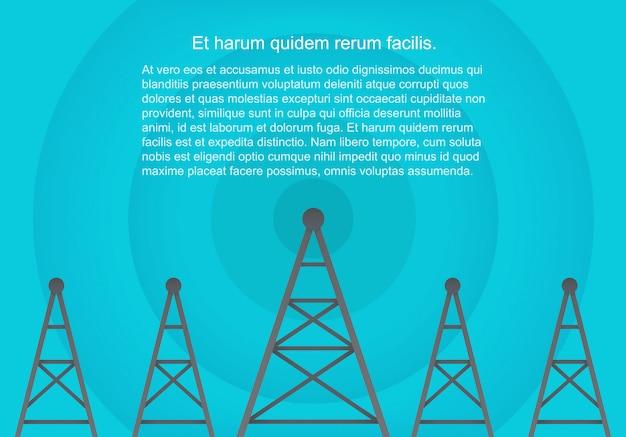 Telecommunicatie cellulaire torens in volumetrische papieren vlakke stijl Premium Vector