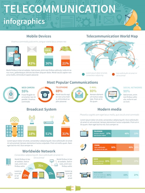 Telecommunicatie infographics lay-out Gratis Vector