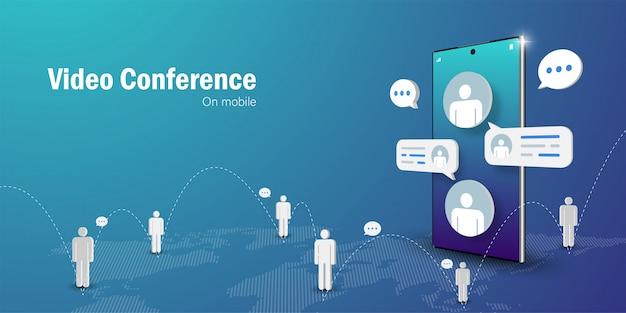 Telecommunicatieconcept, videoconferentie zakelijke bijeenkomst online op mobiele smartphone Premium Vector