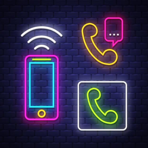 Telefoon communicatie neonreclames collectie Premium Vector